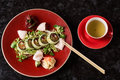 Vegetable sushi rolls with fish Royalty Free Stock Photo