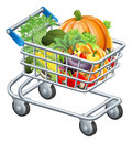 Vegetable trolley an illustration of a or supermarket shopping cart full of fresh healthy raw groceries vegetables and fruits Stock Photography