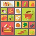 Vegetable vector icons, food set for cooking,