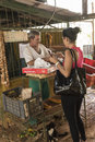 Vegetable vendor havana and paying customer in central Stock Image