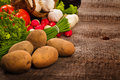 Vegetables background over grunge wooden Stock Images