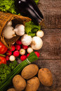 Vegetables background over grunge wooden Royalty Free Stock Photo