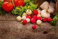 Vegetables background over grunge wooden Stock Photos