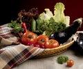 Vegetables in basket Stock Photo