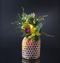 Vegetables in basket decorated with flowers Stock Photography
