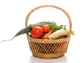 Vegetables basket fresh fruits and on Royalty Free Stock Photo