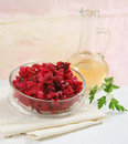 Vegetables beet root salad with oil Stock Photo
