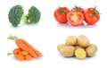 Vegetables carrots tomatoes vegetable potatoes food isolated Royalty Free Stock Photo
