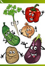 Vegetables cartoon illustration set of funny food characters Royalty Free Stock Image