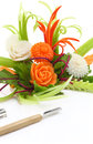 Vegetables carving decorative flowers carved from with knives isolated Stock Image