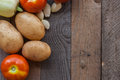 Vegetables close up of fresh on a wooden table Royalty Free Stock Photo