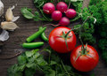 Vegetables close up view of nice fresh on wooden back Stock Image
