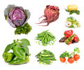 Vegetables collection of organic agriculture on a white background Stock Photos
