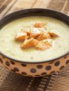 Vegetables cream soup with chicken