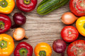 vegetables crop background onions garlic tomatoes, pepper, cucumber. top view Royalty Free Stock Photo