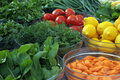 Vegetables different fruits on the weekly market Royalty Free Stock Image