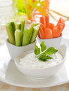 Vegetables with dip Stock Photos