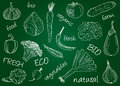 Vegetables doodles school board illustration of chalky on Royalty Free Stock Image