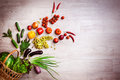 Vegetables explosion from wicker basket. Copy space from right. Royalty Free Stock Photo