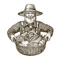 Vegetables. Farmer with basket in hands. Sketch vector
