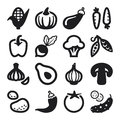 Vegetables flat icons black set of about Royalty Free Stock Photo