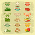 Vegetables food labels garlic and tomato potato basil chilly pepper ana cucumber on vintage background Stock Photography
