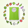 Vegetables Fresh Food and Floor Scales Health Life Concept. Vector