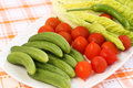 Vegetables fresh on white plate on table Stock Images