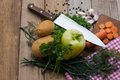 Vegetables fresh on wooden board Royalty Free Stock Photo