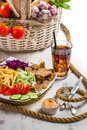 Vegetables fries and meat kebab served with cold coke on white background Royalty Free Stock Image