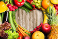 Vegetables and Fruit Heart Royalty Free Stock Photo