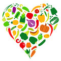 Vegetables and fruit icon set in heart shape, vector illustratio