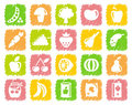 Vegetables and fruit icons Stock Photography