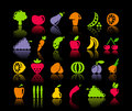Vegetables and fruit icons of Stock Photos