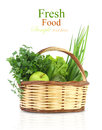 Vegetables and fruits in the basket green Stock Images
