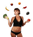 Vegetables and fruits diet woman juggling with concept Royalty Free Stock Photography
