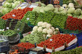 Vegetables and fruits in food stall of Turkish bazaar Royalty Free Stock Photo