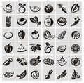 Vegetables and fruits icons authors illustration in vector Royalty Free Stock Photo