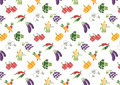 Vegetables and Fruits icons set and signs pattern Royalty Free Stock Photo