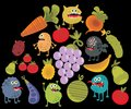 Vegetables and fruits with microbes vector illustration Stock Photos