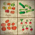 Vegetables and fruits are painted on old paper Royalty Free Stock Images