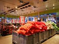 Vegetables and fruits products at the Selgros hypermarket Royalty Free Stock Photo
