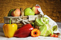 Vegetables and fruits still life of with basket Royalty Free Stock Photography