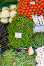 Vegetables and fruits in traditional Turkish grocery bazaar Royalty Free Stock Photo