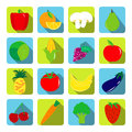 Vegetables and fruits vector icons with long shadows in flat sty style Royalty Free Stock Photos