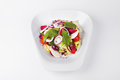 Vegetables with goat cheese and kalamata olives, strawberry, oni Royalty Free Stock Photo