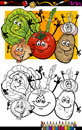 Vegetables group cartoon for coloring book or page humor illustration of comic food objects children education Stock Photography