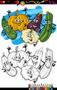 Vegetables group cartoon for coloring book or page humor illustration of cucurbit or gourd comic food objects children education Royalty Free Stock Photography
