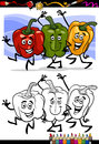 Vegetables group cartoon for coloring book or page illustration of three peppers red and green and yellow funny food objects Stock Images