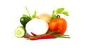 Vegetables group and white background Stock Photo